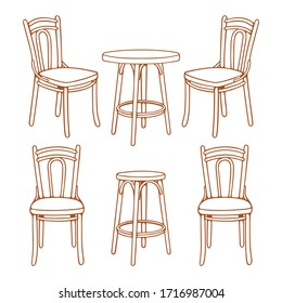 Vintage wooden chairs. Hand drawn retro style chairs and round table vector illustrations set.