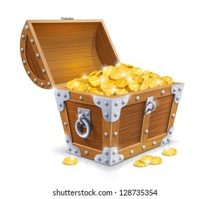 vintage wooden chest with golden coin vector illustration isolated on white background EPS10. Transparent objects and opacity masks used for shadows and lights drawing. Vector Illustration.