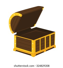 Vintage wooden chest with open lid vector illustration. Pirate chest open vector icon