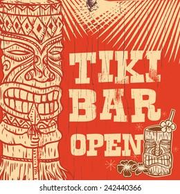 Vintage wooden sign - Tiki Bar Open, vector