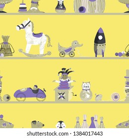 Vintage wooden toys on shelves seamless vector pattern background in gender neutral colors. Great for nursery, wallpaper, gift wrap, backdrop, scrapbook, fabric and more.