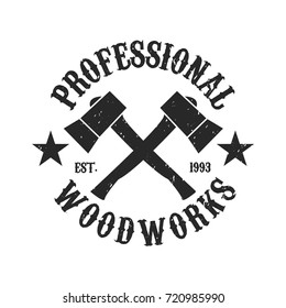 Vintage Woodwork logo - Two axes crossed icon.
