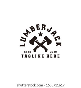 Vintage woodworking cross axe logo design, grange print stamp, creative carpentry lumberjack typography emblem, Vector