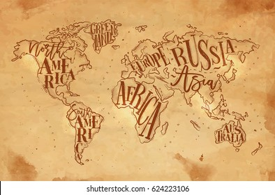 Vintage world map with inscription greenland, north, south america, africa, europe, asia, australia, russia drawing on craft background