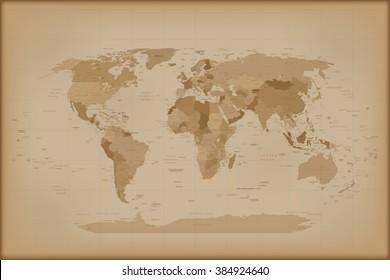 Vintage World Map. Vector illustration Isolated on white background.