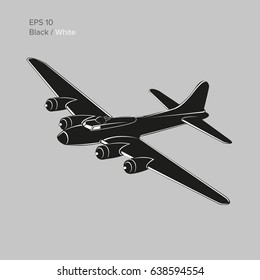 Vintage world war 2 legendary heavy bomber. Old retro piston engine propelled heavy aircraft. Vector illustration icon