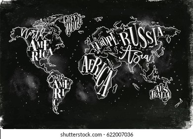 Vintage worldmap with inscription greenland, north, south america, africa, europe, asia, australia, russia drawing with chalk on chalkboard background.