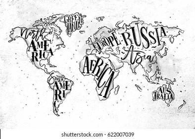 Vintage worldmap with inscription greenland, north, south america, africa, europe, asia, australia, russia drawing on dirty paper background.
