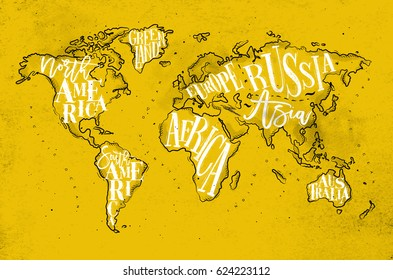 Vintage worldmap with inscription greenland, north, south america, africa, europe, asia, australia, russia drawing on yellow paper background.