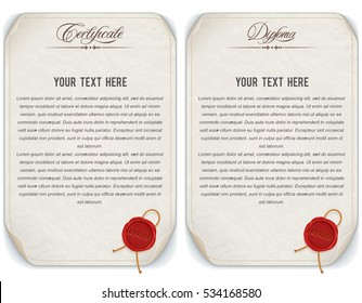 Vintage Worn Aged Paper Diploma and Certificate. Vector Template
