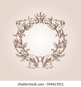 Vintage wreath in engraving style, in sepia