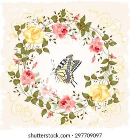 vintage wreath of roses and butterfly