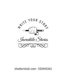 vintage writing hand vintage style. Writer filigree label.