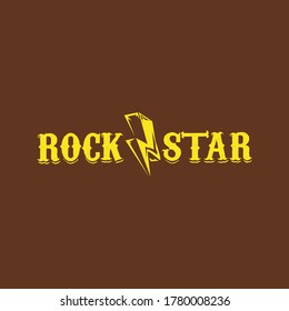 vintage yellow rock star print isolated on brown background. Vector Grunge Rock star emblem or label concept design template for printing on t shirt