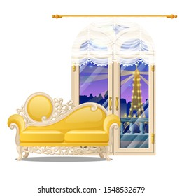 Vintage yellow sofa with carved ornament and a French window with a view of the evening isolated on a white background. Vector cartoon close-up illustration