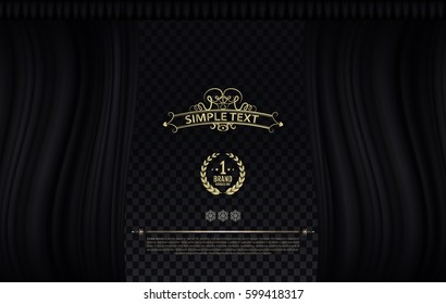 Vintage yellow symbol on black wave curtain. Vector theatre curtain with transparent backdrop and simple text. Classic style for design. Brand number one