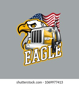 Vintage Yellow truck and Eagle logo.