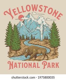 Vintage Yellowstone National Park Bison Mountain Geyser Scene - Shutterstock ID 1975800035
