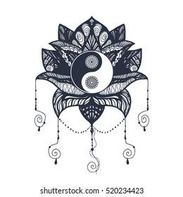 365c46095 Vintage Yin and Yang in Mandala Lotus. Tao symbol for print, tattoo,  coloring