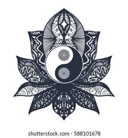 Vintage All Seeing Eye Mandala Lotus Stock Vector Royalty Free