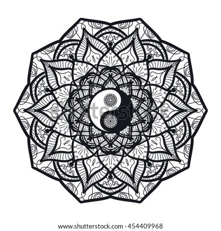 Vintage Yin Yang Mandala Tao Symbol Stock Vector Royalty Free