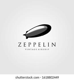 vintage zeppelin airship logo vector illustration design