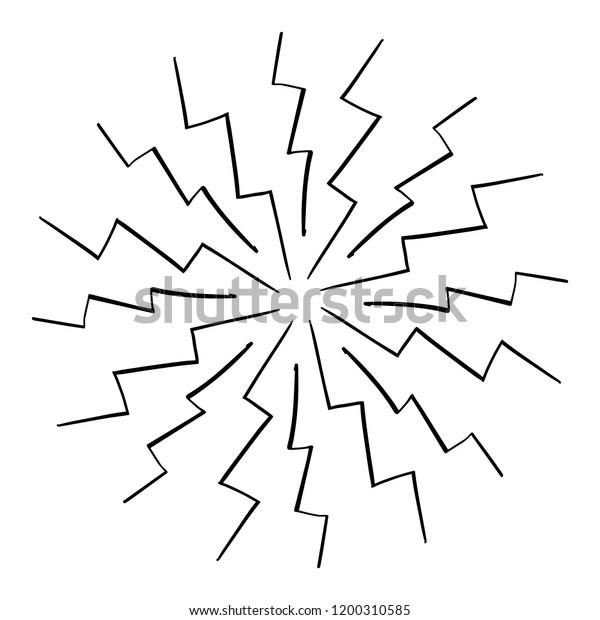 Vintage Zig Zag Sunburst Explosion Chalk Stock Vector