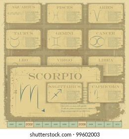 Vintage zodiac horoscope with zodiac sign - vector illustration