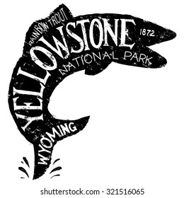 Vintage-looking illustration of a label about Yellowstone fishing featuring a silhouette of a trout.