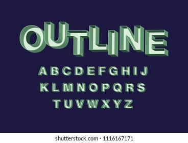 vintage/retro 3 dimensional/ 3d outline typography design vector