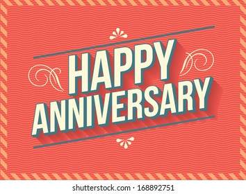 vintage/retro happy anniversary greeting template vector/illustration