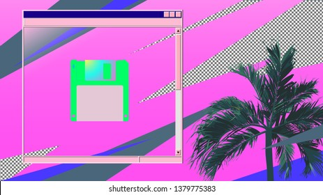 Vintage/retro palm tree and blank vintage OS style frame with floppy disk icon, 80s elements and color inspired background template