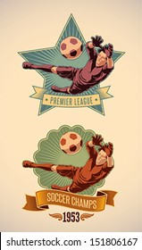 Vintage-styled soccer championship label including an image of goalkeeper. Editable vector.