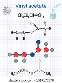 Vinyl acetate molecule. It is the precursor to polyvinyl acetate (PVA) . Sheet of paper in a cage. Structural chemical formula and molecule model. Vector illustration