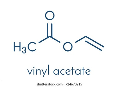 Vinyl acetate, polyvinyl acetate (PVA, PVAc) glue building block. PVA is used in a number of glue types. Skeletal formula.
