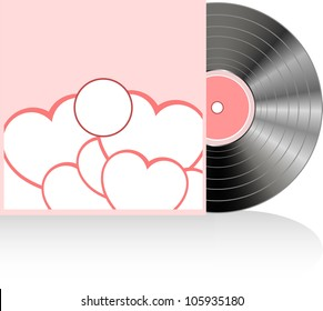 vinyl in cover with red love heart
