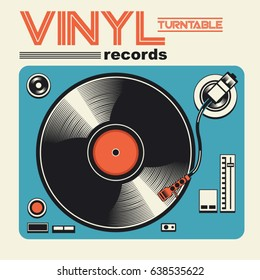 Vinyl disk music illustration, typography, music tee shirt graphics, vectors
