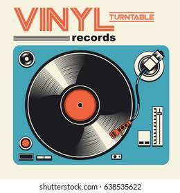 Vinyl disk music illustration, typography, music tee shirt graphics, vectors