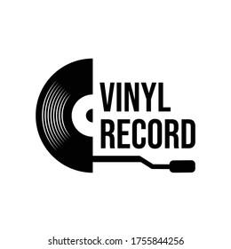 Vinyl disk record music logo vector icon illustration design