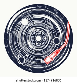 Vinyl disk universe and music notes tattoo. Symbol of space music, meditation, dream, inspiration t-shirt design