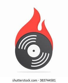 Vinyl with fire logo vector design