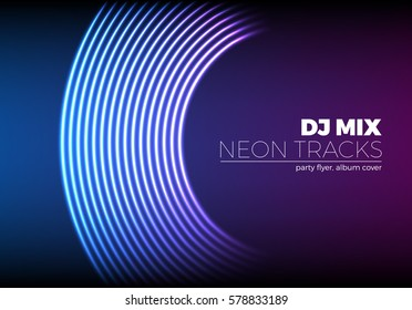Vinyl grooves as neon lines background. 80s vapor wave style for dj mix cover.