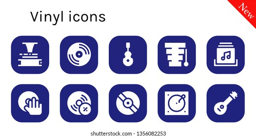 vinyl icon set. 10 filled vinyl icons.  Simple modern icons about  - Phonograph, Vinyl, Instrument, Xylophone, Music album, DJ, Vynil, Turntable, Mandolin
