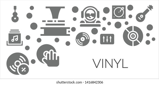 vinyl icon set. 11 filled vinyl icons.  Simple modern icons about  - Instrument, Phonograph, Music album, Vinyl, Vynil, DJ, Turntable, Mandolin