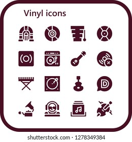 vinyl icon set. 16 filled vinyl icons. Simple modern icons about  - Jukebox, Vinyl, Xylophone, DJ, Record, Turntable, Mandolin, Vynil, Electric piano, Instrument, Disqus, Gramophone