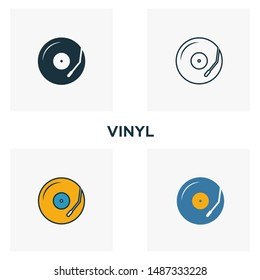 Vinyl icon set. Four elements in diferent styles from audio buttons icons collection. Creative vinyl icons filled, outline, colored and flat symbols.