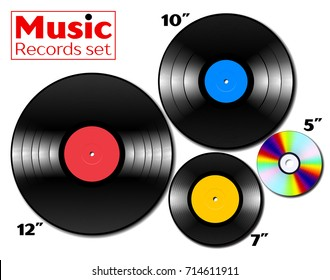 Vinyl lp and ep references collection with various sizes of music media. 12, 10 and 7 inch pressed discs and CD. Real scale