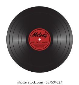 Vinyl LP record disc. Black musical vinyl album disc. Realistic retro template isolated on white