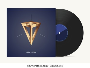 Vinyl music disk in cover box. Vector illustration