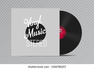 Vinyl music record with Cover Mockup. Vintage red gramophone disc. Retro design. Vector illustration.
